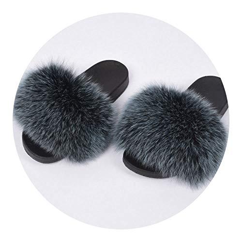 Real Fox Fur Slides Fluffy Fur Slipper,Blue Frosted,9