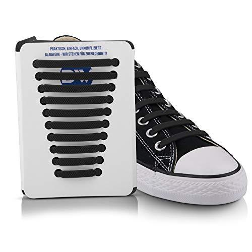 Blauwerk Silikon Schnürsenkel - elastische Schnürsenkel für Kinder und Erwachsene - Schnürsenkel ohne binden - Gummi Schuhbänder in 13 Farben erhältlich (Schwarz)