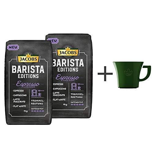 Jacobs Kaffeebohnen Barista Editions Espresso Bohnen Pack, 2er Pack (2x 1kg Bohnenkaffee), Gratis geschenk: Jacobs kaffeebecher