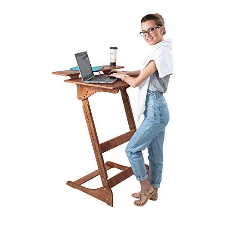 Stehpult Stehtisch Typ Dh - Holz - Tisch höhenverstellbar - Farbe komplett: Nussbaum hell - Adjust Standing Desk- Kontorka