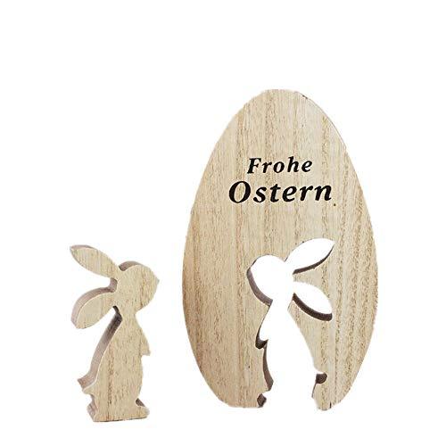 Treer Ostern Dekoration Tisch, Osterdeko Osterhase Ei Figur aus Holz Tischdeko Gartendeko Geschenk zu Oster Ornamente Idyllisch Handwerk Kreativ Geschenke (Stehende Position,15 x 9cm)