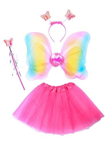 THEE Costume da Elfa o Principessina in 4 Pezzi a Forma di Ali di Farfalla con Luci LED e Bacchetta Magica Costume per Bambine in Occasione di Feste Carnevale Halloween (Z-Rosa Rossa)