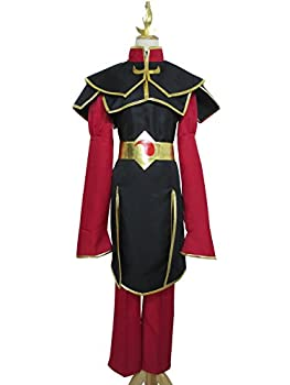 Leader of The Fire Warriors Princess Azula Uniform Outfit Cosplay Costume  Female XL  Black,red
