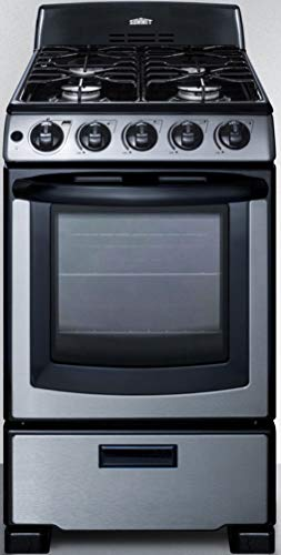 Summit Appliance PRO201SS 20' Wide Gas Range in Stainless Steel with Electronic Ignition, Indicator Lights, Backguard, Porcelain Construction, Upfront Controls, Oven Window, and Sealed Burners
