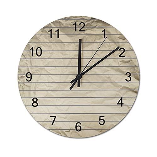 Reloj de Pared Digital Redondo,Ancla náutica,Decoración casera rústica silenciosa Que no Hace tictac con Pilas de Madera para la Sala de Estar de 10 Pulgadas