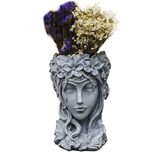 Statua del Vaso di Fiori con Testa di dea, Resina Premium, Artigianato in Resina, lucidato a Mano, Vita gustativa, fornendo alle Piante Uno Spazio di Crescita Ampio e Sano, per Ornamenti da Giardino