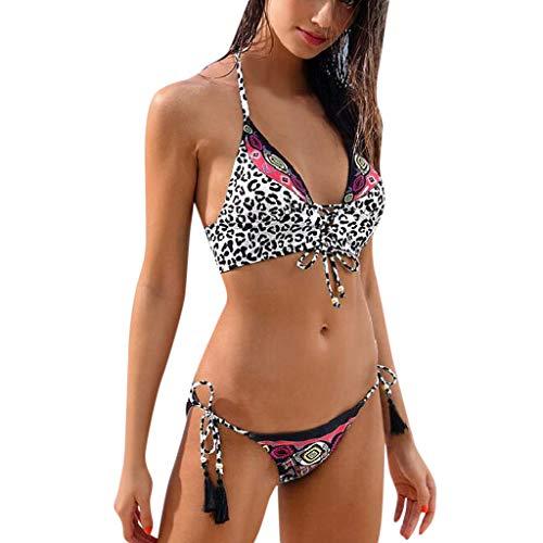 SCHOLIEBEN Bikini Damen Set Push Up Bandeau BH High Waist Leobarden Sexy Bustier Triangle Thong Schöne Retro Sport Bademode Badeanzug