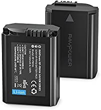 NP-FW50 RAVPower 2-Pack Camera Battery Compatible with Sony A6000 Battery, A6500, A6300, A6400, A7, A7II, A7RII, A7SII, A7S, A7S2, A7R, A7R2, A55, A5100, RX10 Accessories, Black