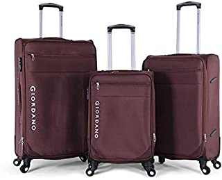 Giordano Luggage Trolley Bags Set, 3 Pcs With 4 Wheel, Brown - 161712, Unisex