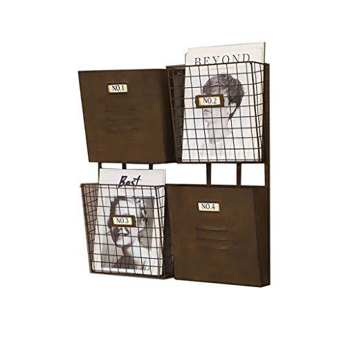 Revistero de hierro forjado, estante de almacenamiento de periódico de la barra de 4 ranuras montada en la pared retro industrial, marco decorativo antiguo creativo, estante del pórtico de la cafeterí