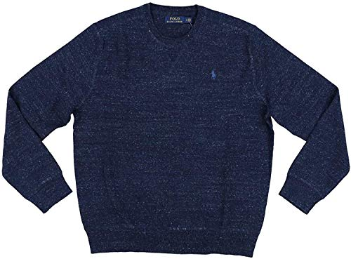 Polo Ralph Lauren Mens Crew Neck Pullover Sweater (Medium, Navy Heather)
