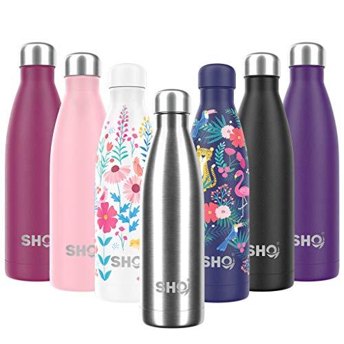 SHO Bottle - Botella Última Aislada por Vacío de Doble Pared de Acero Inoxidable, Botella de Agua y Vaso – 12 Horas Caliente & 24 Fría – Sin BPA (Stainless Steel 2.0 - Powder Coated, 375ml)