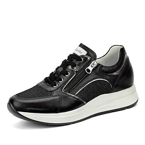 Nero Giardini E010471d Sneakers Zip Vera Pelle/Mesh Nero Scarpe Donna, 39