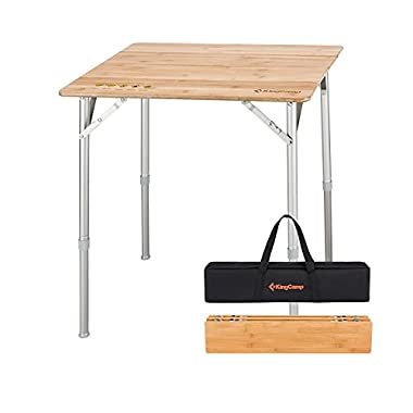 KingCamp 4-Fold Heavy Duty Adjustable Height Aluminum Frame Folding Bamboo Table with Carry Bag