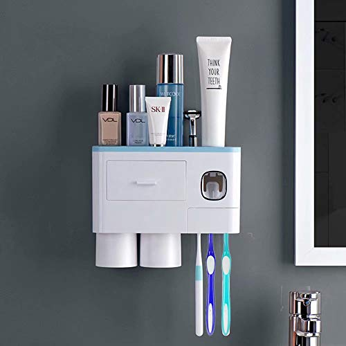 WEKITY Multifunctional Wall-Mounted Toothbrush Holder, Automatic Toothpaste Dispenser Space Saving Toothbrush Organizer , 2 Cups and Drawers Cosmetic Organizer (Blue)