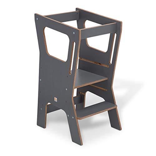 FabiMax Lernstuhl Lernturm Küchenhelfer Vario 4, grau melaminbeschichtet
