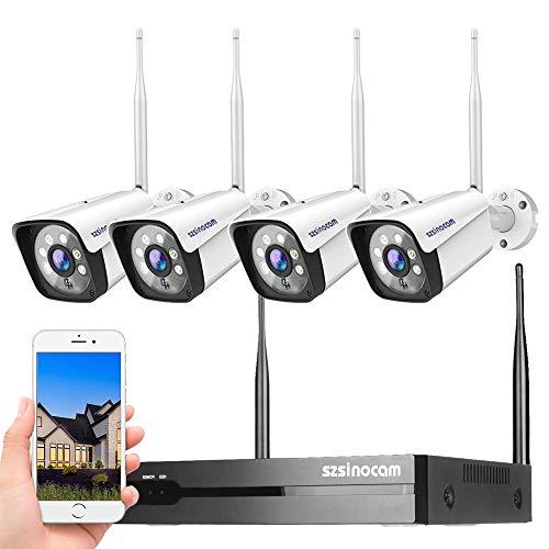 8CH Kit Telecamere Videosorveglianza Wifi da Esterno,1296P Full HD Sistema di Telecamera Sorveglianza con 4 videocamere,30m Visione Notturna,Rilevazione del movimento,IP66 Impermeabile,plug & play