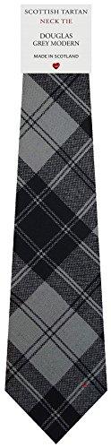 I Luv Ltd Cravate en Laine pour Homme Tissée et Fabriquée en Ecosse à Douglas Grey Modern Tartan