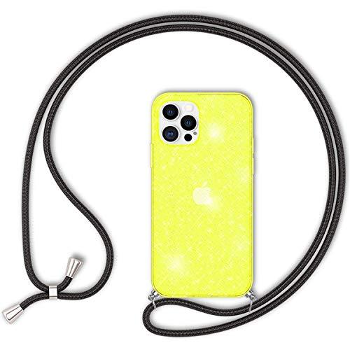 NALIA Neón Glitter Carcasa con Cuerda Compatible con iPhone 12 Pro MAX Funda, Transparente Purpurina Silicona Cubierta & Correa Colgante, Translucido Brillante Case Cover, Color:Amarillo Glitter