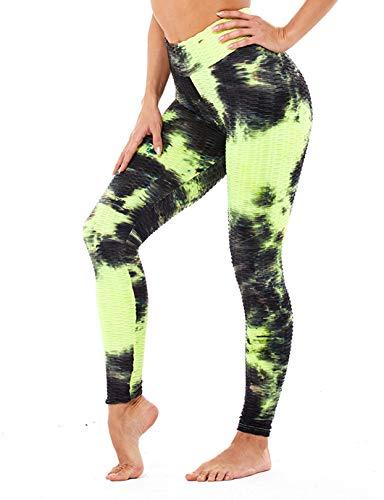 SHAPERIN Damen Anti-cellulite Kompressions Leggings Geraffte Gym Leggings Bauch Kontrolle Yogahose Sports leggings Hohe Taille Po Lifting Lauf Tights für Workout Jogging Fitness Hose(Schwarz-gelb,M)