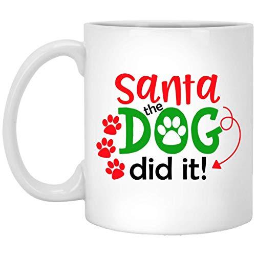 Divertidas tazas navideñas de Papá Noel El Perro Did It, los mejores regalos de Navidad para amigos familiares compañeros taza de café blanca de 11 oz