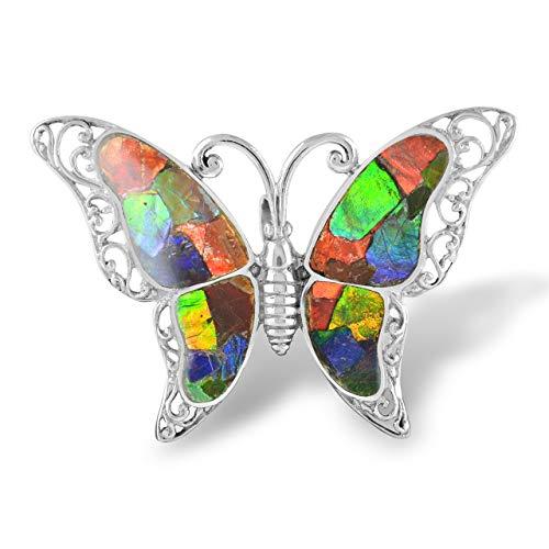 Starborn Ammolit Brosche Anhänger 925 Sterling Silber Schmetterling
