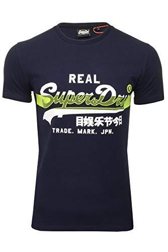 Superdry Herren VL Cross Hatch Tee T-Shirt, Blau (Rich Navy ADQ), Large