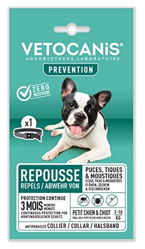 Vétocanis - Collier Répulsif Puces Tiques Moustiques - Protection 3 mois - Petit Chien et Chiot 2 à 10 kg - Extraits Naturels Margosa et Lavandin