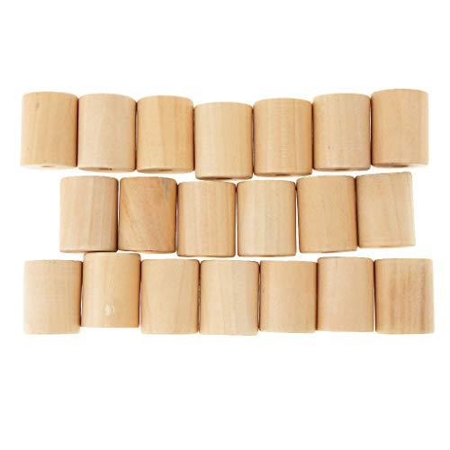 IPOTCH 20er Pack Holz Perlen Zylinder Unvollendete Spacer Bead Rohr Perle Set Bastelperlen für Spielzeug zum basteln - Holz, 20x25mm