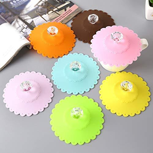 GCDN Tapa de la Taza 7 Piezas Tapa de Silicona Linda Tapa de Beber Taza de café Reutilizable Cocina Té Hogar Anti Polvo Oficina o de succión a Prueba de Fugas