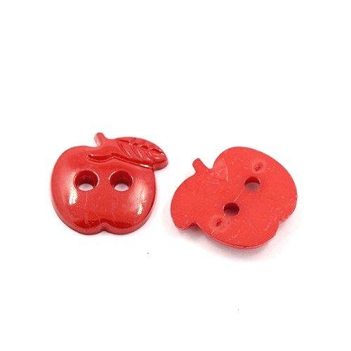 Acrylique Boutons Rouge Pomme 22mm 2-Trou Paquet De 25
