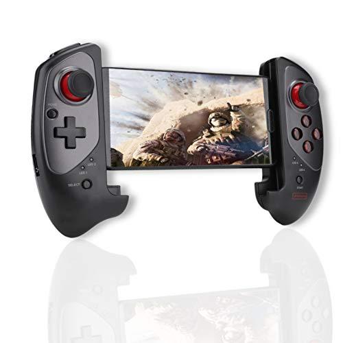 Denash Mobiler Gamecontroller, Teleskop-Gamepad Erweiterbarer Joystick-Pad Einziehbarer kabelloser Gamecontroller für Mobiltelefon, Tablet, Smart-TV, Android, iOS