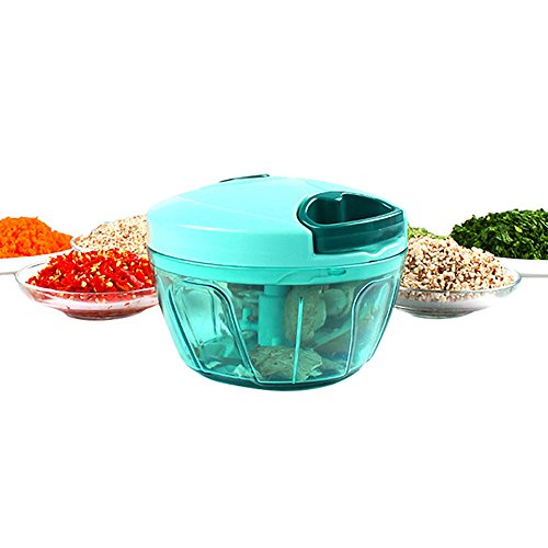 LLQ Gemüse Zerkleinerer Manuell, Zwiebelschneider, Zerkleinern Kräuter mit 3 Klingen, Küchenhelfer für Babynahrung, Früchte, Fleisch