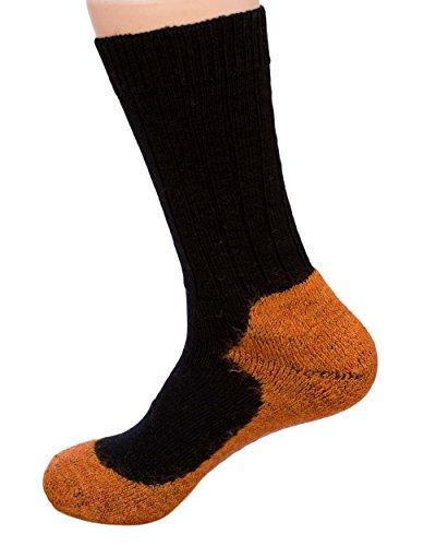 Hirsch Natur, Sport Socken mit Schaft, 98prozent Wolle (kbT), 2prozent Elasthan (40/41, Black/Mango)