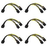Iyowei 6Pcs Cable Sata Alimentacion Cable Alimentacion Grafica 8 Pines 6+2 (GPU a GPU), Cable PCI Express 8 Pines, 8 Pines PCI Express a 2 x PCIe 8 6 + 2 (22cm, Negro)