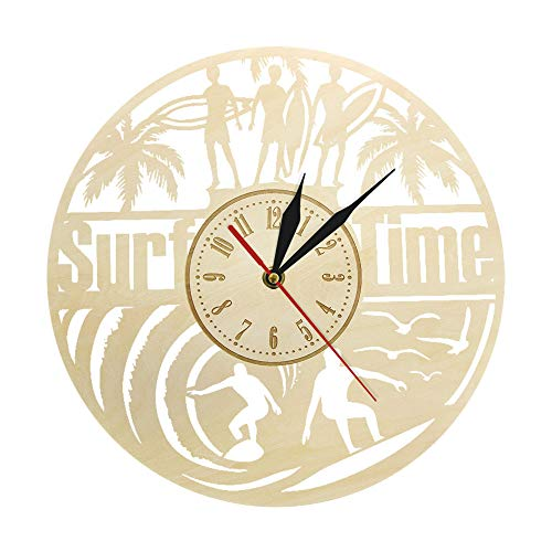 xinxin Reloj de Pared Verano Palm Surf Time Surfing Wood Silent Modern Ocean Beach Cottage Rústico Decoración Surfers Gift Simple y Generoso Elegante Durable