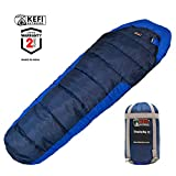 Kefi Outdoors Sleeping Bag Mummy Style, Portable, Lightweight 3-Season for Camping, Hiking, Traveling, Backpacking, Men, Women, Kids Ultralight Compression Sack (Royal and Navy Blue)