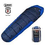 Kefi Outdoors Sleeping Bag Mummy Style, Portable, Lightweight 3-Season for Camping, Hiking, Traveling