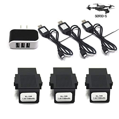 Forweilai 3pezzi 7.4V 1100mAh Li-on Batteria + 3 in 1 Caricabatterie per SG900-S GPS Drone