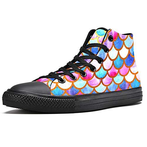 Zapatillas altas para hombre, coloridas con diseño de escamas de sirena, (Multi color), 42.5 EU