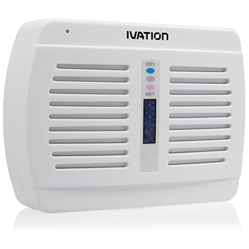 Ivation Renewable/Rechargeable Wireless Mini Dehumidifier - Suited for Closets, Boats, RVs, Lockers & Gun Safes - Uses Non-Toxic Silica Gel Crystals White 1-Pack