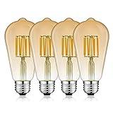 Bonlux Bombilla LED E27 con filamento, regulable, 8 W, ST64, vintage, 220 V, blanco cálido, 3000 K, ámbar, bombilla decorativa, ideal para restaurantes, bodas, Navidad decoración (4 unidades)