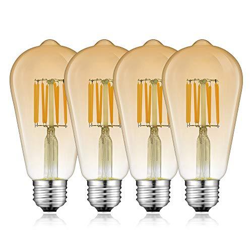 Bonlux 8W E27 ST64 Dimmable Ampoule LED en verre ambre e27 filament led vintage Blanc Chaud 2700K équivaut à l'ampoule halogène 80W, pour maison, décoration, café, boutique, restaurant, etc (4pcs)