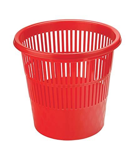 Papelera perforada de 16 litros, formato 30 x 30 cm, color rojo
