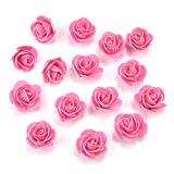 Fake flower heads in bulk Wholesale for Crafts PE Foam Mini Roses Head Artificial Flowers DIY Party Birthday Home Decor Wedding Decoration for Scrapbooking Gift Box DIY Wreath 50pcs 3CM (Pink)