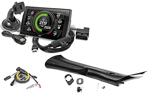 Edge EVO CTS3 Touch Screen Gauge Monitor 85400-200 & Replacement Pillar Mount & EGT Probe Pyrometer Kit Compatible with 2007-2014 Chevy Silverado/GMC Sierra 6.6L LB7/LLY/LBZ Duramax Diesel
