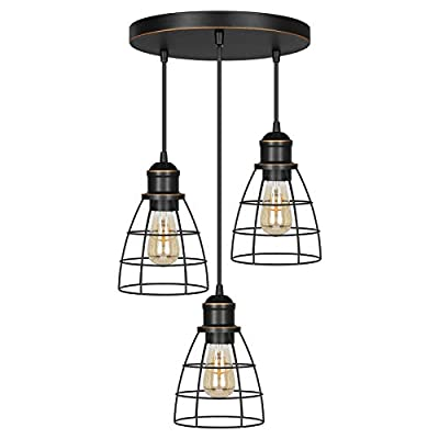 DEWENWILS Industrial 3-Light Pendant Lighting, Adjustable Hanging Light Fixtures with ORB Metal Caged Shade for Kitchen Island, Dining Room, Living Room