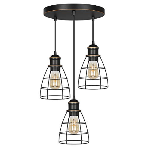 DEWENWILS Industrial 3-Light Pendant Lighting, Adjustable Hanging Light Fixtures with ORB Metal Caged Shade for Kitchen Island, Dining Room, Living Room, Hotel Shop and Bar, E26 Base
