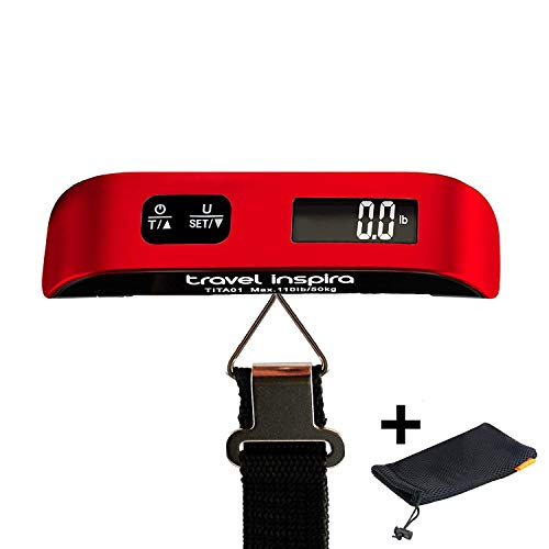Travel Inspira 110LB Digital Luggage Scale with Overweight Alert, White...