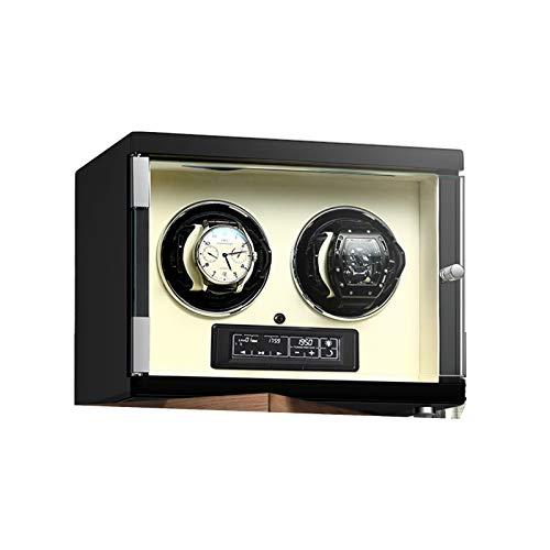 zyy Caja de Relojes Automaticos Estuche para 2 Relojes 5 Velocidades Iluminación LED Joyero para Mujeres Y Hombres Silenciosa Caja de Almacenamiento Caja de Almacenamiento Beige